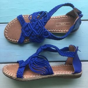 Yoki Royal Blue Espadrille Sandals Boho Hippie